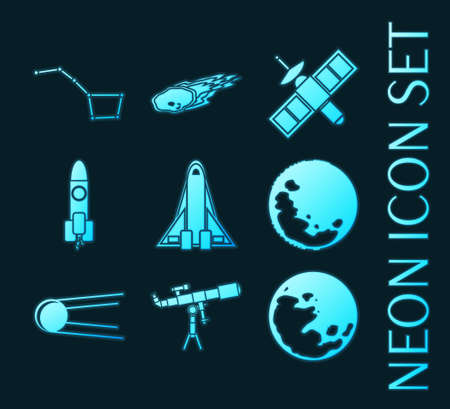 Set of Space blue glowing neon icons 矢量图像