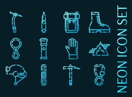 Speleologist set icons. Blue glowing neon style 矢量图像
