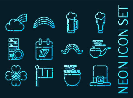 St set icons. Blue glowing neon style.
