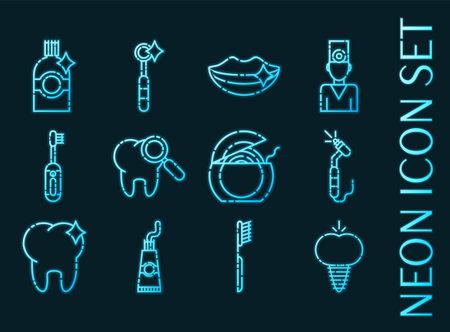 Stomatology set icons. Blue glowing neon style