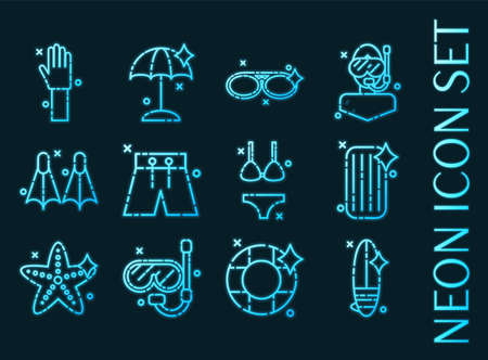 Swimming set icons. Blue glowing neon style. 矢量图像