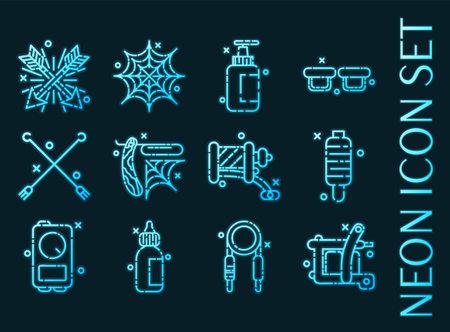 Tattoo set icons. Blue glowing neon style 矢量图像