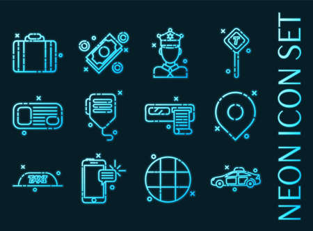 Taxi set icons. Blue glowing neon style. 矢量图像