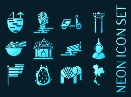 Thailand set icons. Blue glowing neon style.