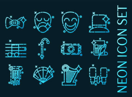 Theater set icons. Blue glowing neon style.