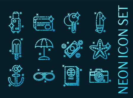 Tourism set icons. Blue glowing neon style.