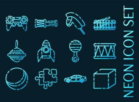 Toys set icons. Blue glowing neon style