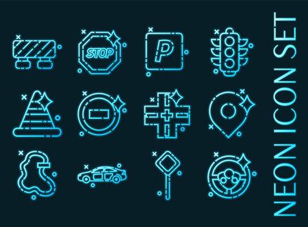 Traffic set icons. Blue glowing neon style. 矢量图像