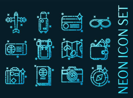 Traveling set icons. Blue glowing neon style. 矢量图像