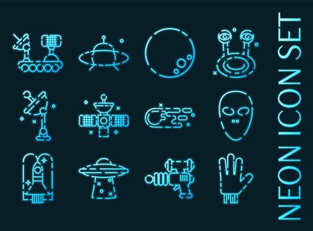 UFO set icons. Blue glowing neon style. 矢量图像