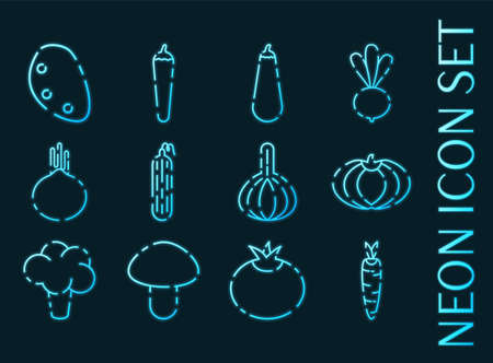 Vegetables set icons. Blue glowing neon style.