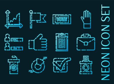 Vote set icons. Blue glowing neon style. 矢量图像