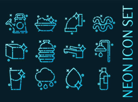 Water set icons. Blue glowing neon style. 矢量图像