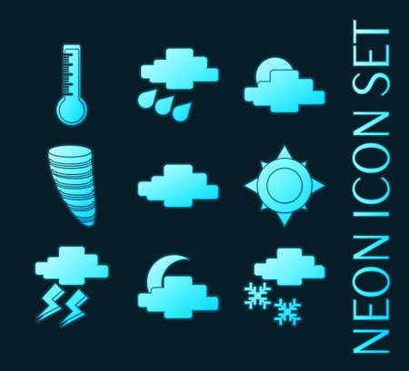 Set of Weather blue glowing neon icons.