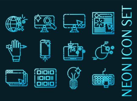 Web design set icons. Blue glowing neon style 矢量图像