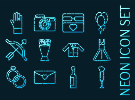 Wedding set icons. Blue glowing neon style. 矢量图像