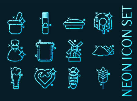 Wheat set icons. Blue glowing neon style.