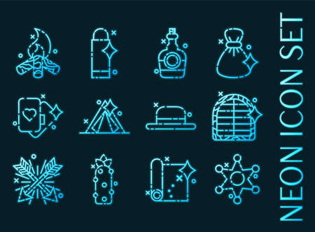 Wild west set icons. Blue glowing neon style