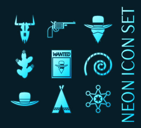Set of Wild west glowing neon icons collection 矢量图像