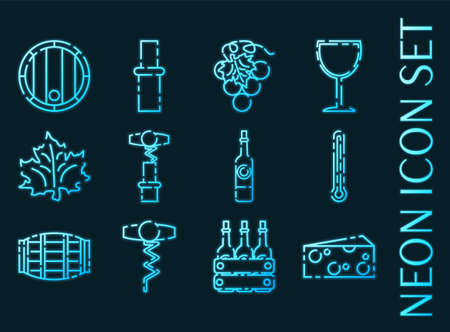 Wine set icons. Blue glowing neon style