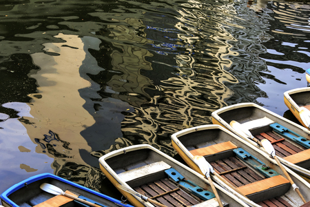 fishing boat in lake 写真素材