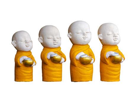venerable: Sculpture Buddhist novice hold begging bowl Stock Photo