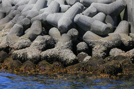 breaker: Sea and shore breaker concrete, Osaka, Japan Stock Photo