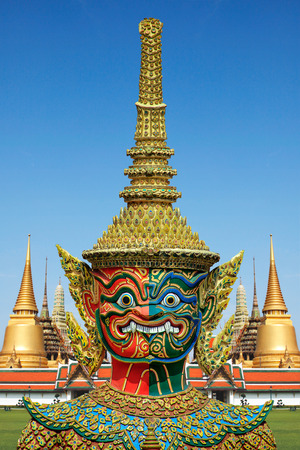 Colorful giant statue , Bangkok on blue sky background