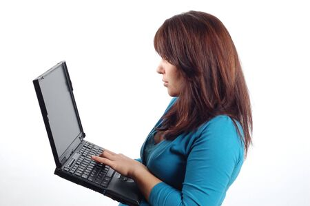 woman holding laptop #7 photo