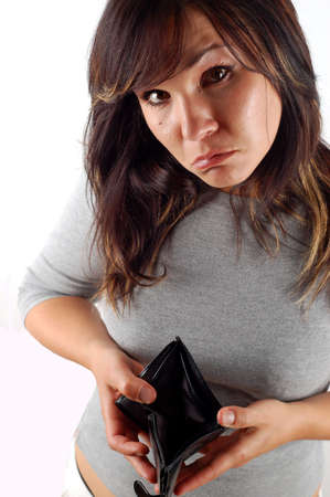 empty wallet: woman with empty wallet