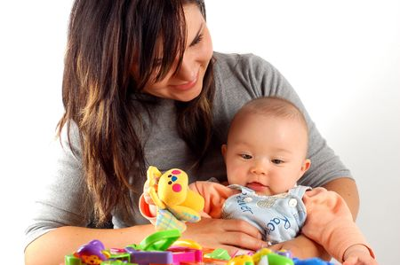 caretaking: mother holding baby