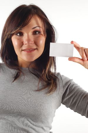 farward: woman with business card #11