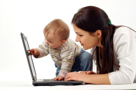 telework: mother and  with laptop