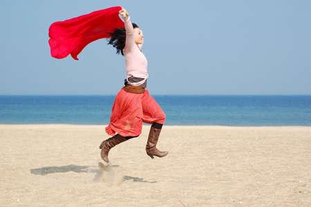 freedom woman on the beach Stock Photo - 2812745