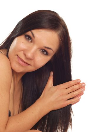 attractive brunette woman on white background Stock Photo - 3042004