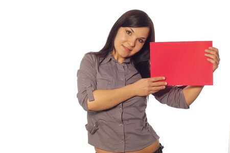 attractive woman holding banner on white background Stock Photo - 3054683