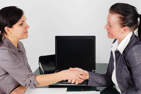 two attractive business women in office Stock Photo - 3120234