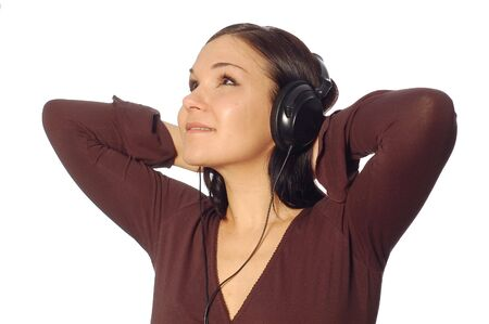 attractive woman with headphones on white background photo