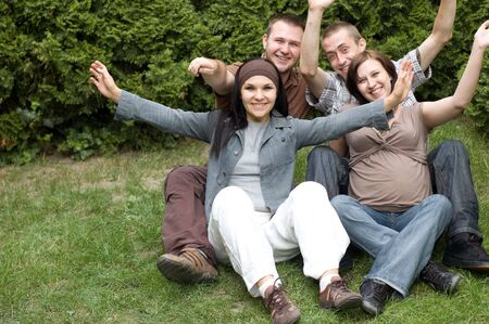 friends together relaxing on grass Stock Photo - 3346212