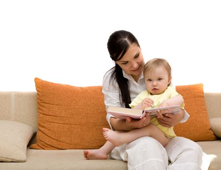 mother and daughter on sofa photo