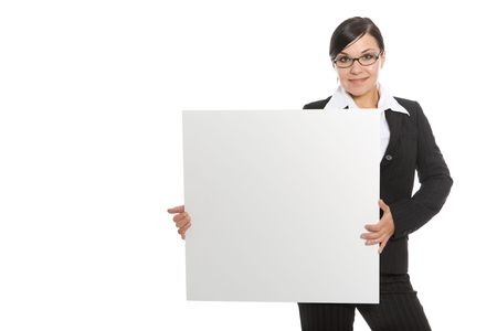 successful brunette businesswoman with banner