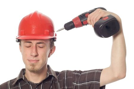 worker with screwdriver on white background photo