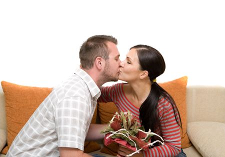 angry couple sitting on sofa Stock Photo - 3414992