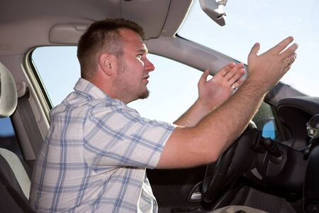 happy man traveling by car Stock Photo - 3414977