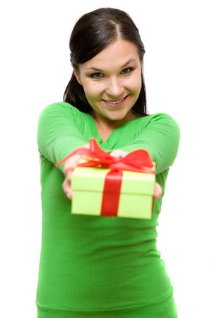 attractive brunette woman with gift on white background photo