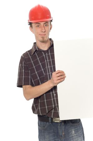 happy man on white background with banner photo