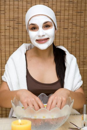 attractive brunette woman doing skin care Stock Photo - 3455626