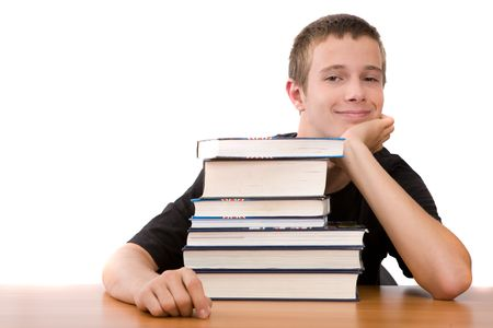 happy teenager learning at home Stock Photo