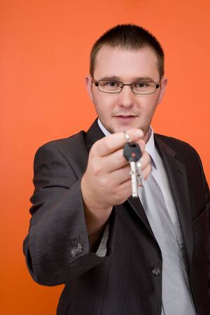 real estate agent holding keys Stock Photo - 3560916