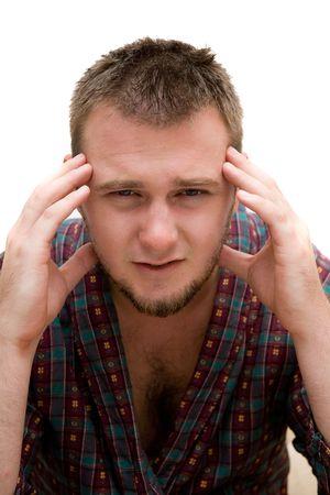very sick man on white background Stock Photo
